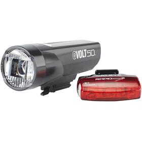 CatEye GVolt 50 HL-EL550GRC + Rapid Micro G Hl-EL620G Set Zestaw oświetlenia czarny